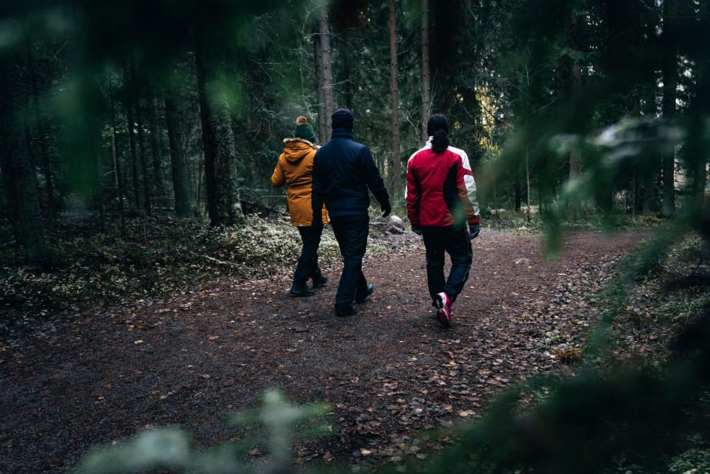 Kolme henkilöä kävelee metsässä.