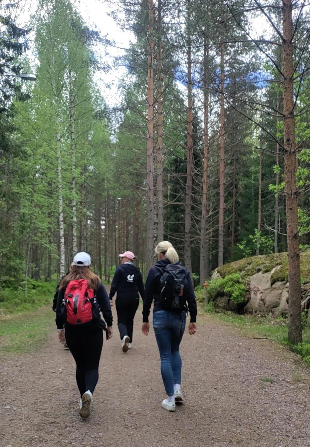 Kolme henkilöä kävelee selin kameraan metsätiellä.